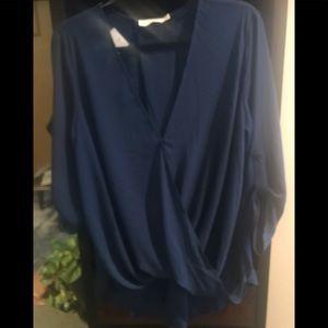 NWT - Lush brand blue hi low blouse large